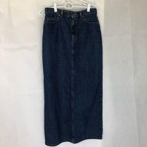 Liz Claiborne Blue Denim Jeans Maxi Skirt